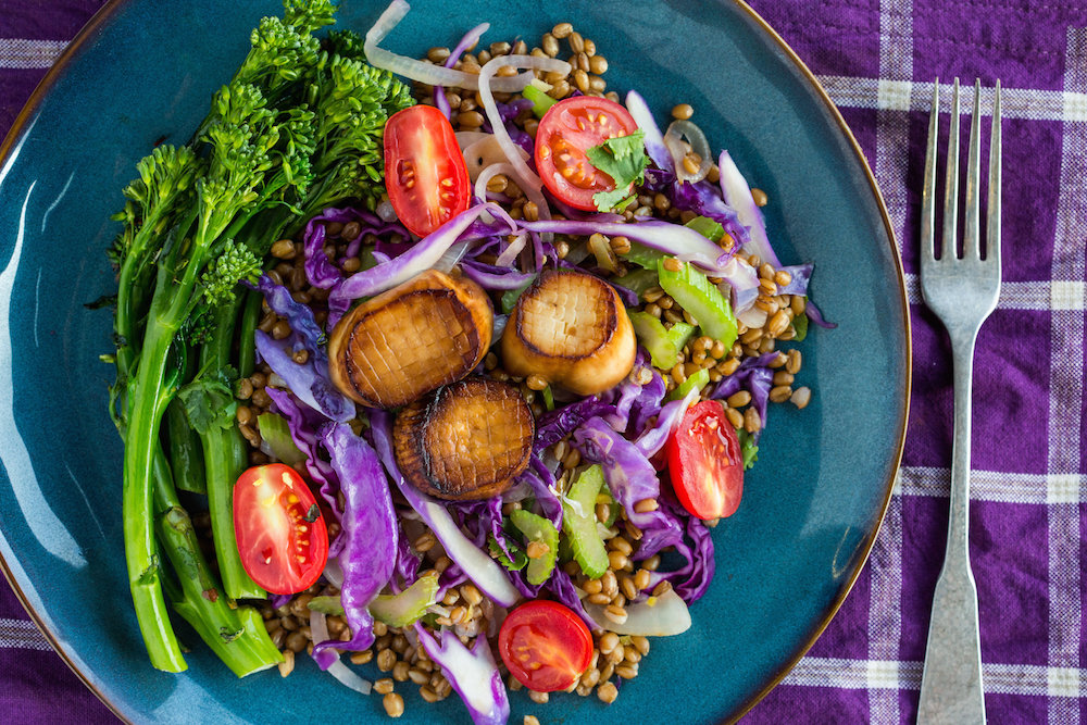 Seared 'Scallops' with Stir-Fried Farro and Spicy Broccolini