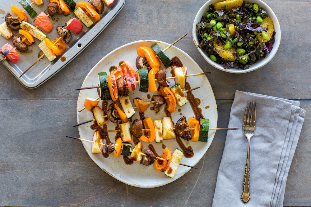Coffee Teriyaki Skewers with Citrus Edamame Salad