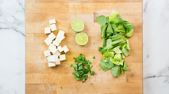 Prep the tofu and vegetables
