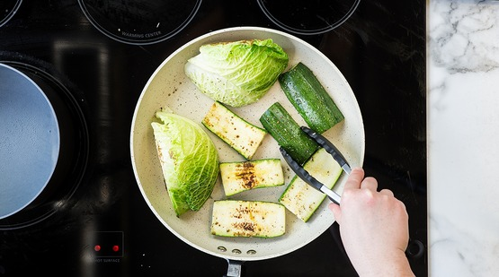 Sear the vegetables