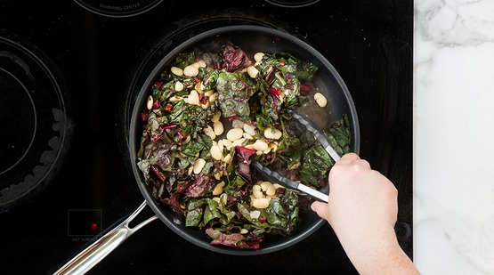 Cook the beans and greens