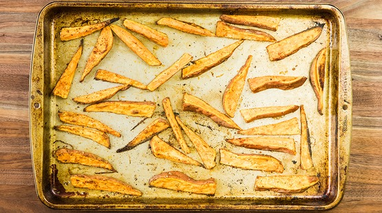Bake the sweet potato wedges