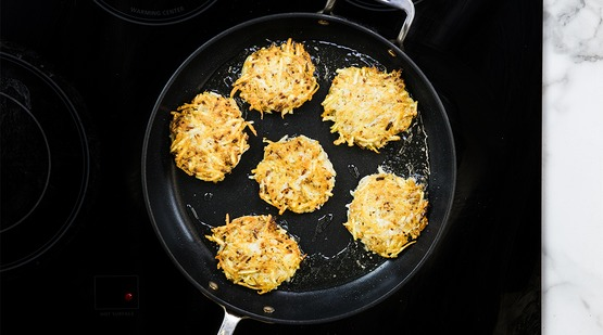 Cook the latkes