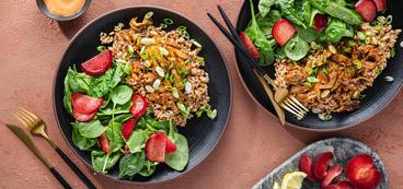 Oyster Mushroom Dynamite with Farro & Spinach Plum Salad