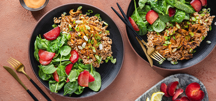Oyster Mushroom Dynamite with Farro & Spinach Plum Salad