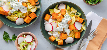 Spicy Buffalo Tofu Bowls with Summer Squash & Herbed Ranch