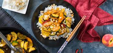 Thai Vegetable Stir-Fry with Peaches & Seeded Cashew Rice