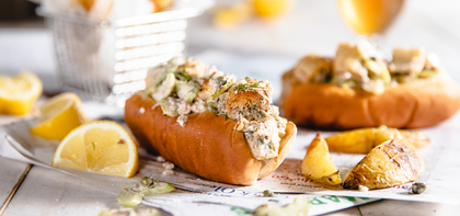 New England Lobster Rolls with Hearts of Palm & Lemon Pepper Potato Wedges