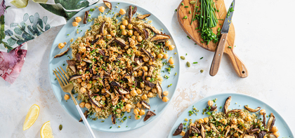 Crispy Mushroom Quinoa Pilaf with Lemon Butter & Pumpkin Seed Gremolata