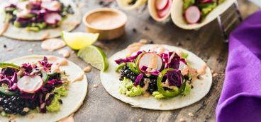 Beluga Lentil Tacos with Quick Guacamole & Radish Jalapeño Slaw