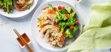 Corn & Crab Dumplings with Garlic Broccoli & Sweet Chile Sauce