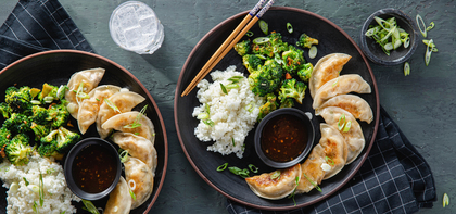 Corn & Crab Dumplings with Garlic Broccoli & Sweet Chile Sauce