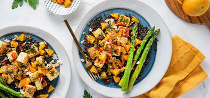Moroccan Tofu with Asparagus & Herby Chermoula Sauce