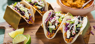 Smoky Portobello Tacos with Jalapeño Cashew Sauce & Spanish Rice