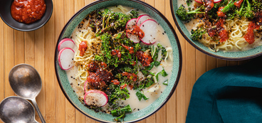 Miso Coconut Ramen Bowls with Charred Broccolini & Smoked Nori