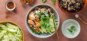 Plantain Black Bean Bowls with Apple Fennel Slaw & Lime Crema