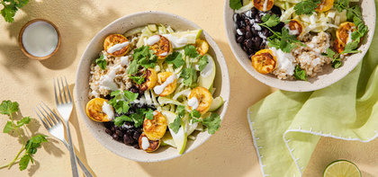 Plantain Black Bean Bowls with Apple Fennel Slaw & Lime Crema