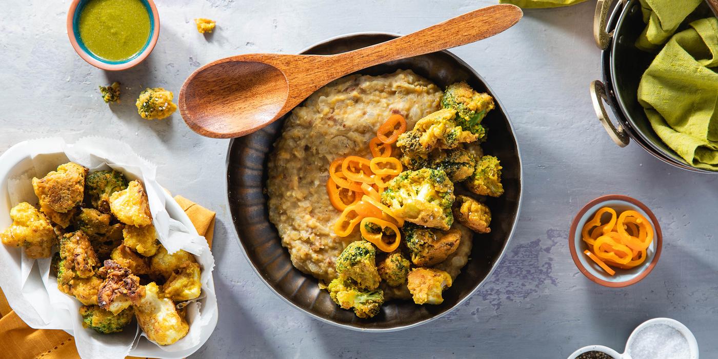 Crispy Cauliflower Pakoras with Red Lentil Dal & Cilantro Chutney