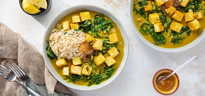 Tofu Palak Paneer with Brown Basmati & Mango Chutney
