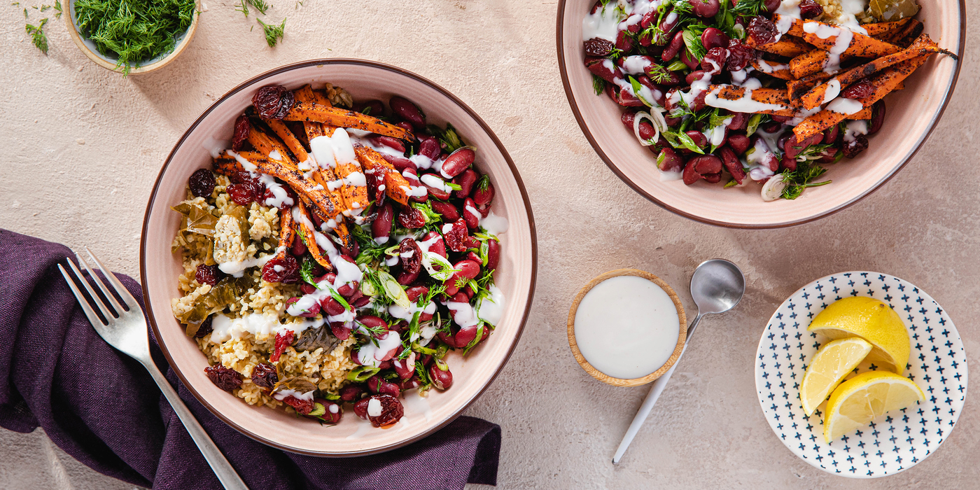 Grape Leaf Pilaf with Dilly Red Beans & Sumac Roasted Carrots