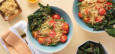 Tarragon Ponzu Noodles with Tomatoes & Crispy Kale