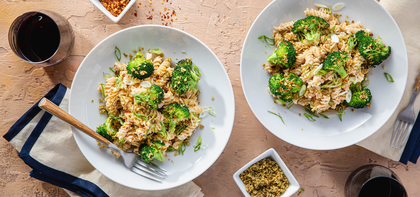 Lemon Miso Pasta with Broccoli & Chile Pepita Parmesan