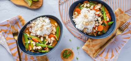 Vegetable Panang Curry with Jasmine Rice & Cashews