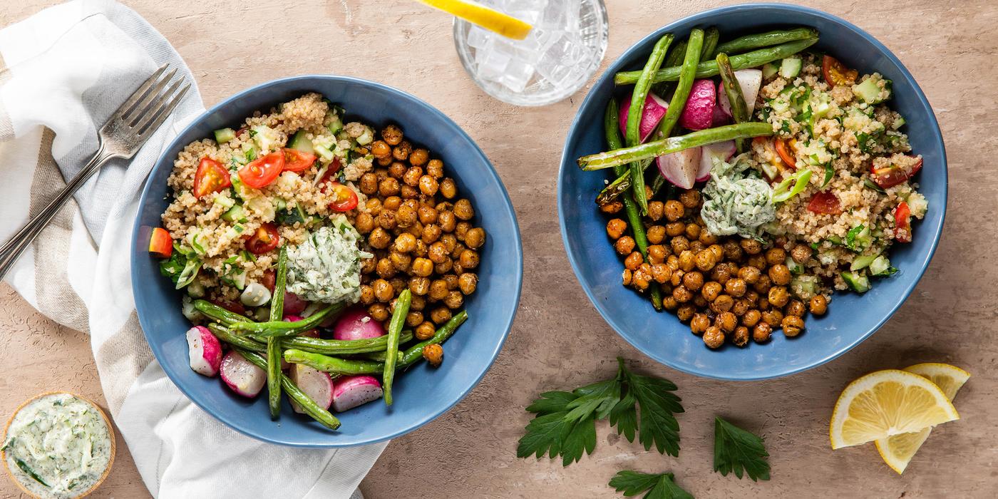 Quinoa Tabouli with Roasted Vegetables & Tzatziki Sauce