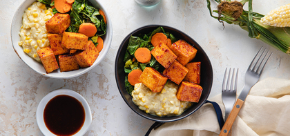 Barbecue Tofu Bowls with Creamed Corn & Southern Collard Greens
