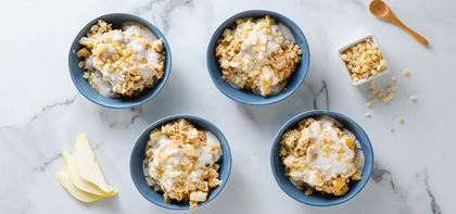 Caramelized Pear Oats with Nutmeg & Crystallized Ginger