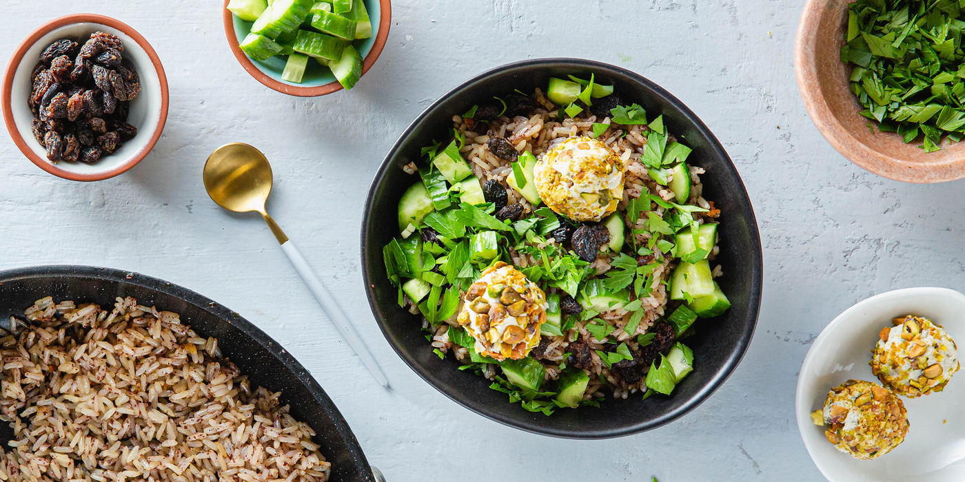 Crispy Sumac Brown Rice Bowls with Pistachios & Cashew Cheese