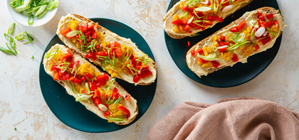 Curried Cauliflower Tartine with Hummus & Roasted Red Peppers
