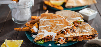 Kimchi Quesadillas with Togarashi Sweet Potato Fries & Lemon Aioli