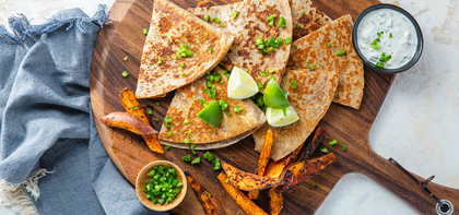 Kimchi Quesadillas with Togarashi Sweet Potato Fries & Jalapeño Sour Cream