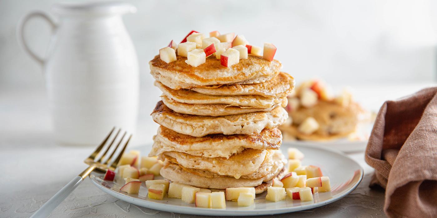 Autumn Pancakes with Apple & Sweet Cinnamon Butter