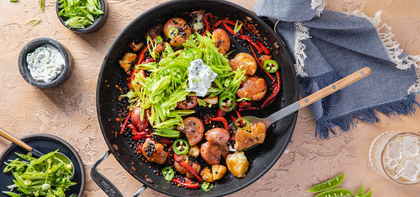 Crispy Potato Skillet with Snap Pea Slaw & Scallion Sour Cream