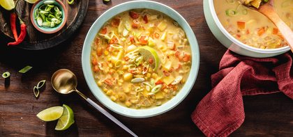 Spicy Thai Coconut Corn Chowder with Fresh Chile & Lime