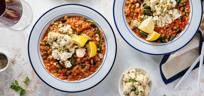 "Tomato Farro Risotto with Swiss Chard & Tofu ""Feta"""