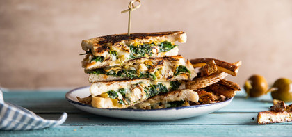 Spinach Artichoke Grilled Cheese with Hot Pepper Mayo & Oregano Fries