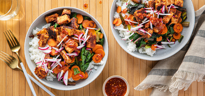 Almond Butter Tofu with Rainbow Chard & Carrots