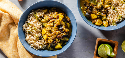 Aubergine Date Curry with Brown Rice & Cilantro Chutney