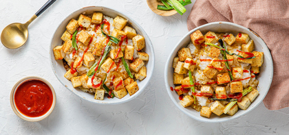 Coconut Ginger Congee with Crispy Tofu