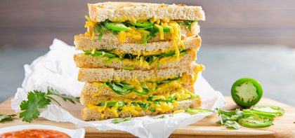 Jalapeño & Garlic Grilled Cheese Sandwiches with Tomato Chutney
