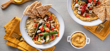 Roasted Carrot Hummus Bowls with Za'atar Vegetables & Cashew Cheese