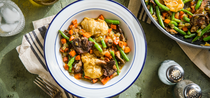 Vegan Chick'n and Dumplings with Oyster Mushrooms & Green Beans