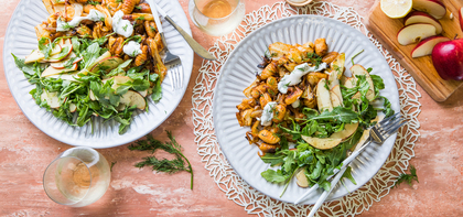 Gnocchi with Dilly-Fried Cabbage & Apple Arugula Salad