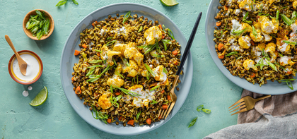 Curry Fried Rice with Roasted Cauliflower & Lime Aioli