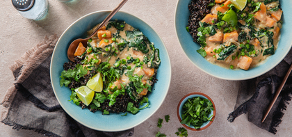 Coconut Peanut Soup with Sweet Potato & Black Quinoa