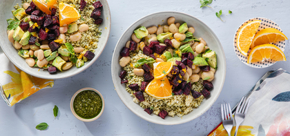 Citrus Beet Bowls with Pesto Millet & Marinated White Beans
