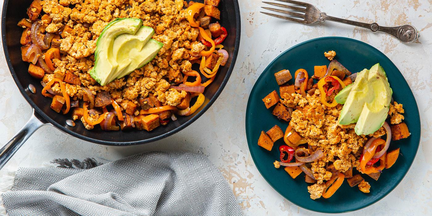 Smoky Tofu & Sweet Potato Hash with Avocado